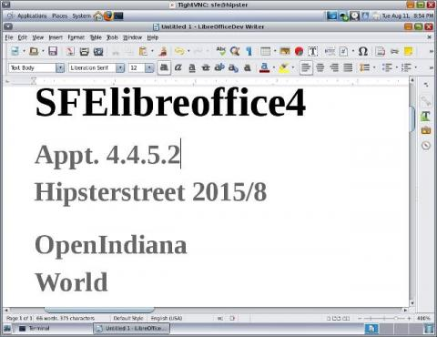 LibreOffice 4.4.5.2 for OpenIndiana Hipster is now in SFE spec-files-extra! Other OS-Distro will follow!