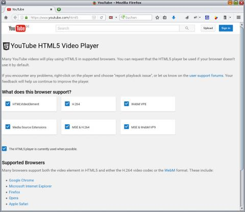 YoutTube HTML5 Testpage showing all video formats okay